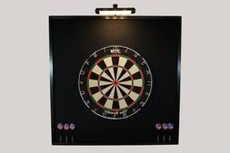 All Black LED Lighted Dartboard Backboard Wall Protector and