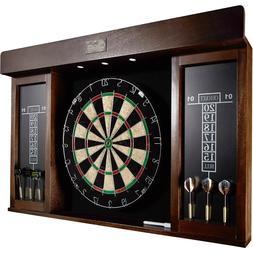 "Premium 40"" Man Cave Game Room Dartboard Cabinet LED Wood Da"