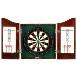 DARTBOARD CABINET SET 6 Darts Scoreboard Dark Cherry Brown S