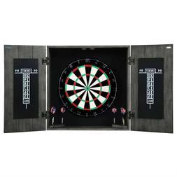 DARTBOARD CABINET SET 6 Darts Scoreboard Distressed Gray Sol