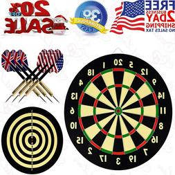 Dartboard Set with 6 Darts and Board Solid Game Room Home Of