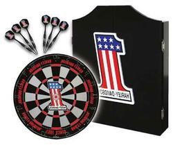 Harley-Davidson #1 Racing Logo Dart Board Kit – Black Wood