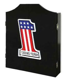 Harley-Davidson #1 Racing Logo Dart Board Cabinet – Black