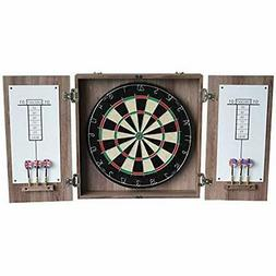 Hathaway Winchester Dartboard &amp Cabinet Set, Driftwood, 3