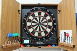 Halex Impact 6.0 Electronic Dartboard Wooden Cabinet and Man