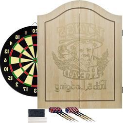 King's Head Light Wood Dartboard Cabinet Set