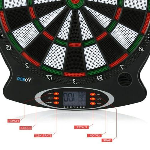 15in Electronic Board Set Target Game LED with 6 Darts