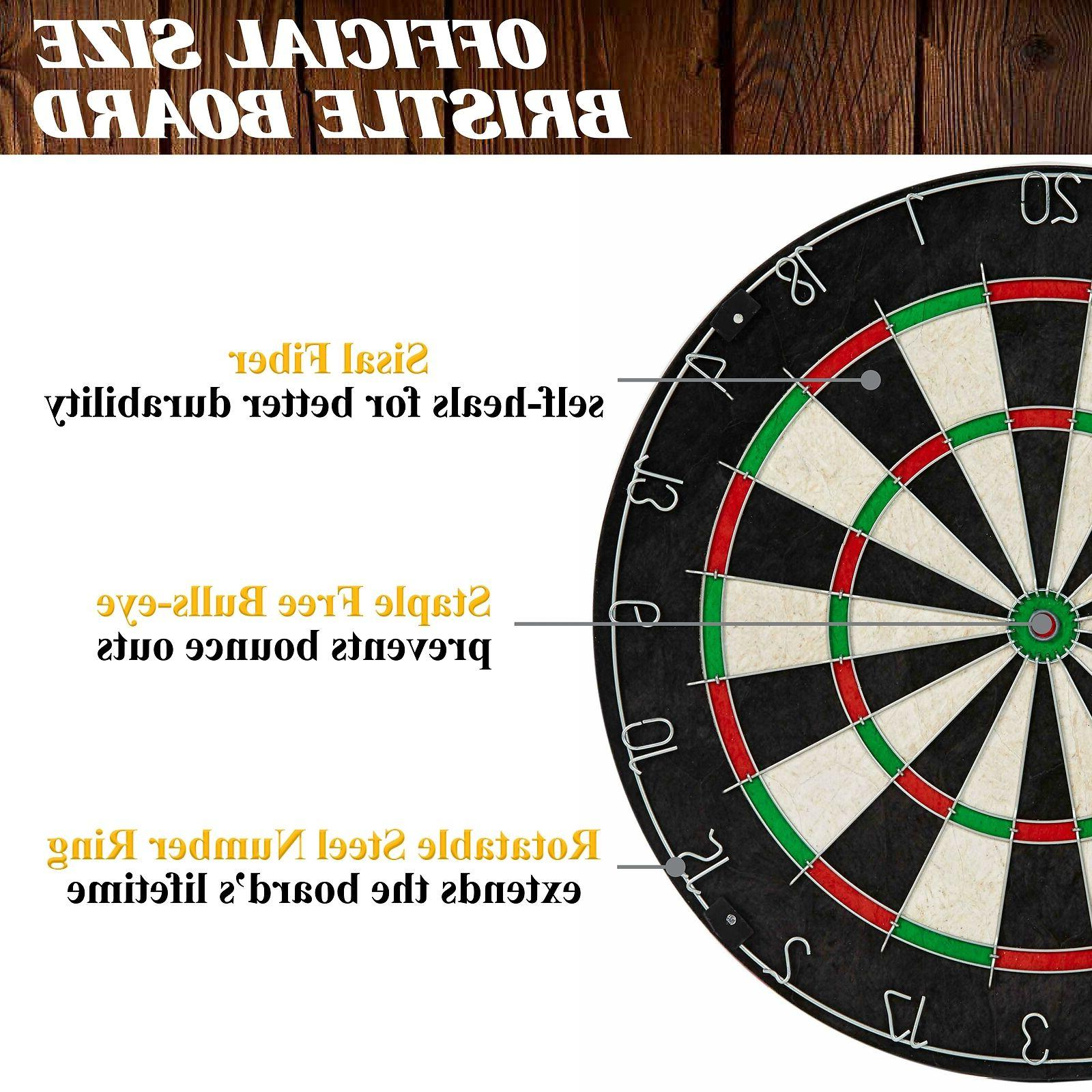 Dartboard Cabinet & Board w/ 6 Fun