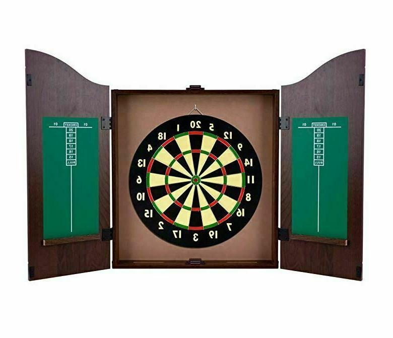 Dartboard Cabinet Set Dart Bar Game With Wood