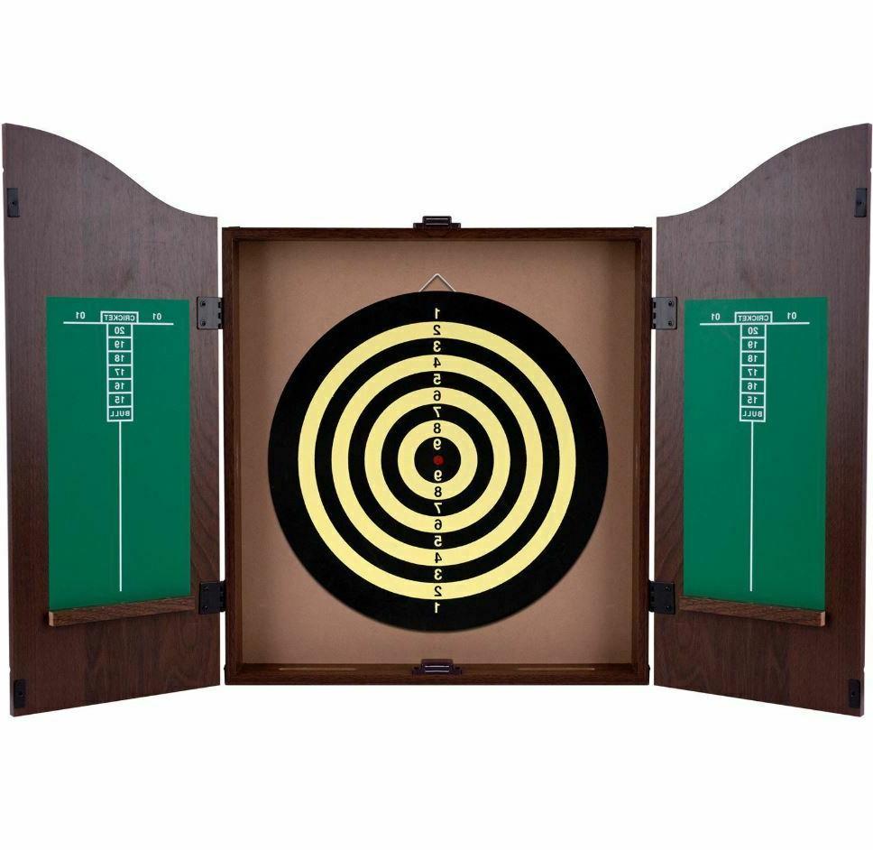 Dartboard Cabinet Set Professional Dart Game Wood
