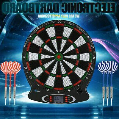 Electronic Soft Tip Dartboard Set 15in Target Game Room LCD
