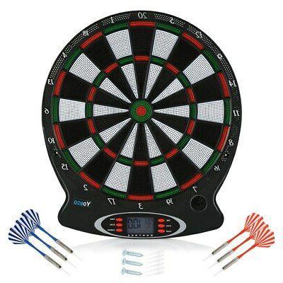 Electronic Soft Tip Dartboard Set Target Game Room LCD Displ