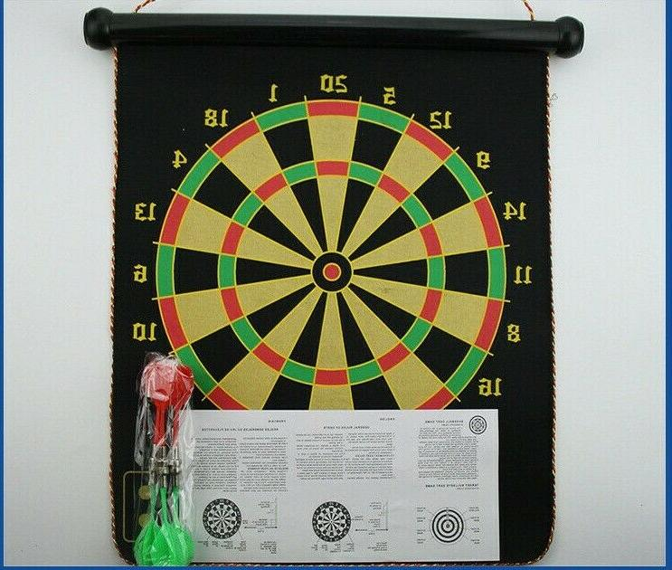 Magnetic Roll-Up Sided Hanging Dart Board Set with Kids
