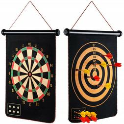 Magnetic Roll-Up Double Sided Hanging Dart Board Set with 6