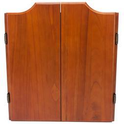 Solid Oak Dartboard Cabinet Set with Bristle Dartboard & 6 S