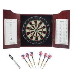 GSE Games & Sports Expert Solid Wood Dartboard Cabinet Set w