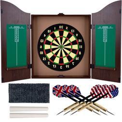 Trademark Gameroom Dartboard Cabinet Set with Realistic Waln